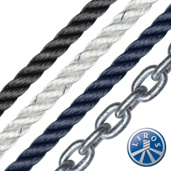 LIROS 12mm 3 Strand Polyester Spliced to 8mm Chain