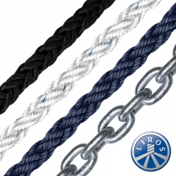 LIROS 12mm Octoplait Polyester Spliced to 8mm Chain