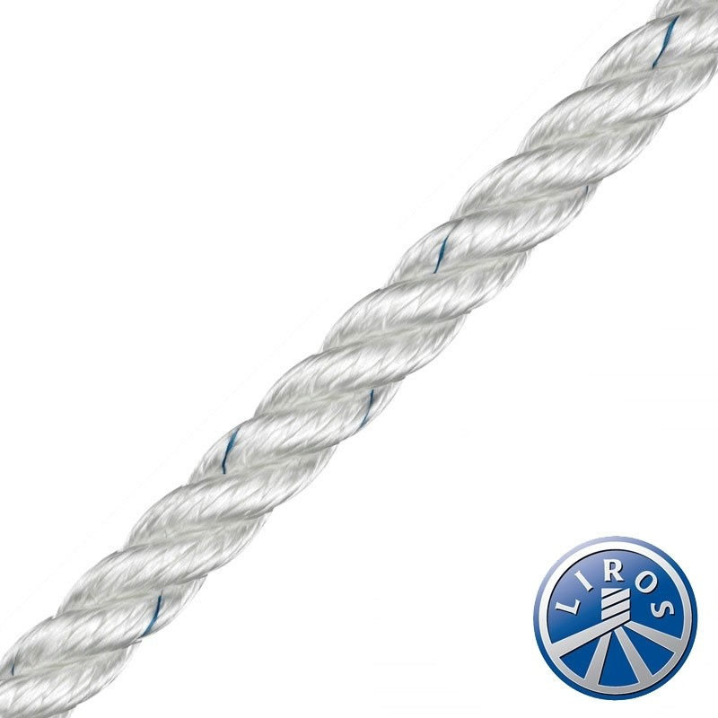 LIROS 3 Strand Polyester rope hank in WHITE