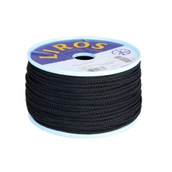 LIROS 8Plait Black Polyester - 50 and 100 metre reels
