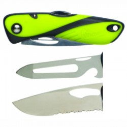 Wichard Offshore knife, fluorescent, serrated blade, shackle key, opener and spike