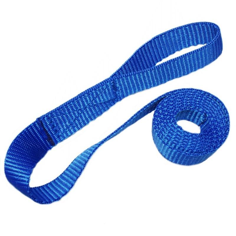 Webbing sail tie sewn loop one end blue