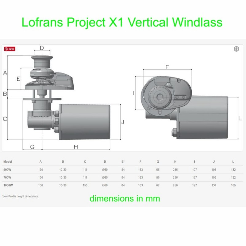 Lofrans X1 Vertical Windlass Dimensions