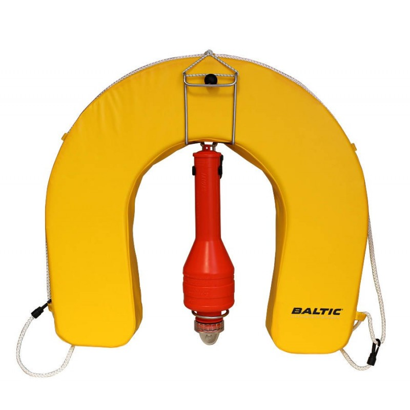 Baltic lifebuoy, stainless steel holder and lalizas light set