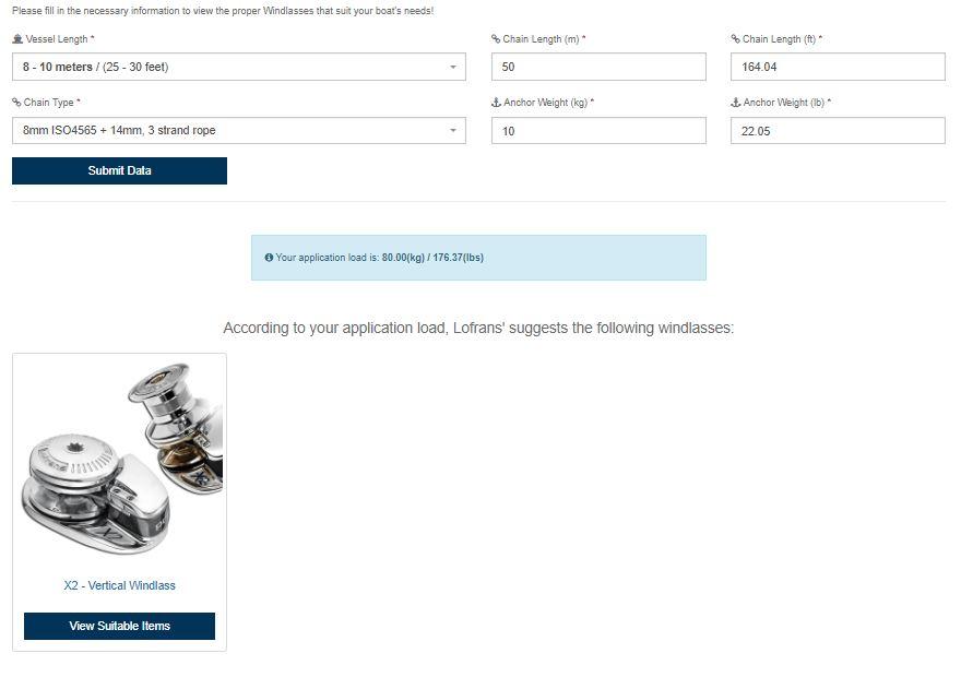 Lofrans windlass selection tool example