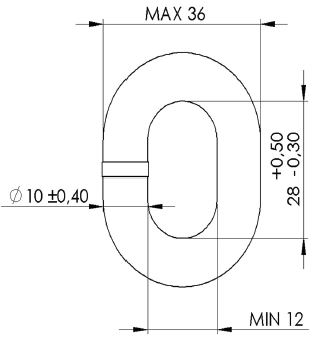 MF 10mm DIN766 Calibrated Chain Dimensions: