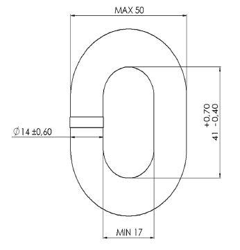 MF 14mm DIN766 Dimensions