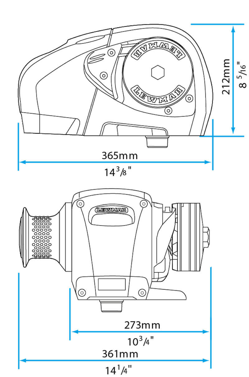 H3 Lewmar Windlass Dimensions