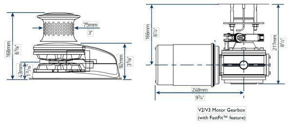 Lewmar V2 Dimensions