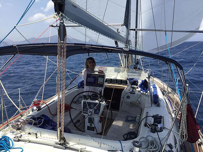 Sue Green Sailing off Gibraltar in 2019