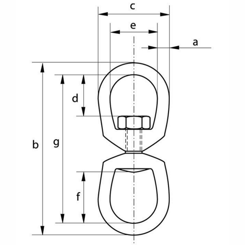 Certified Green Pin Galvanised Mooring Swivel Diagram